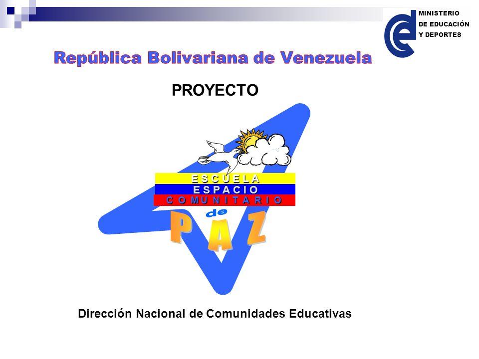 E S P A C I O C O M U N I T A R I O E S C U E L A PROYECTO Dirección Nacional de Comunidades Educativas MINISTERIO DE EDUCACIÓN Y DEPORTES
