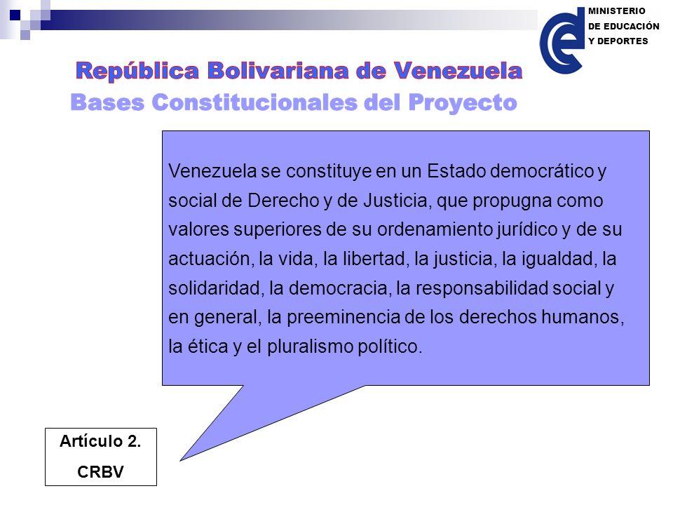 MINISTERIO DE EDUCACIÓN Y DEPORTES Venezuela se constituye en un Estado democrático y social de Derecho y de Justicia, que propugna como valores super