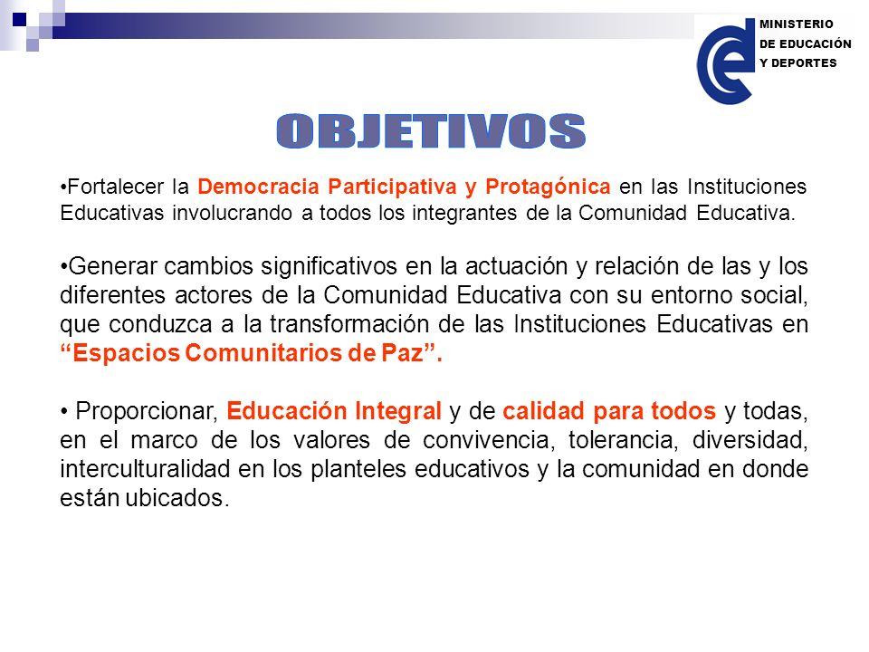 Fortalecer la Democracia Participativa y Protagónica en las Instituciones Educativas involucrando a todos los integrantes de la Comunidad Educativa. G