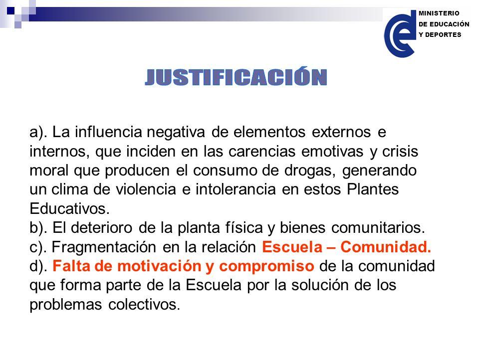 a). La influencia negativa de elementos externos e internos, que inciden en las carencias emotivas y crisis moral que producen el consumo de drogas, g