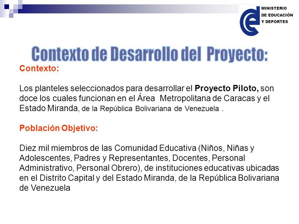 Contexto: Los planteles seleccionados para desarrollar el Proyecto Piloto, son doce los cuales funcionan en el Área Metropolitana de Caracas y el Esta