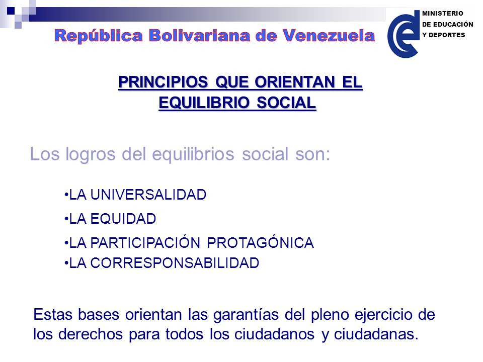 NUEVO MODELO DE ESTADO Constitución de la República Bolivariana de Venezuela Ejerciendo la Participación Protagónica y Corresponsable en la Elaboración, Ejecución y Control de las Políticas Públicas Representado por: Los Poderes Públicos Los Entes del Gobierno Las Comunidades Las Familias Los Ciudadanos MINISTERIO DE EDUCACIÓN Y DEPORTES