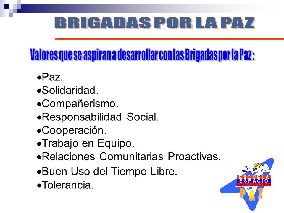 E S P A C I O C O M U N I T A R I O E S C U E L A Paz. Solidaridad. Compañerismo. Responsabilidad Social. Cooperación. Trabajo en Equipo. Relaciones C