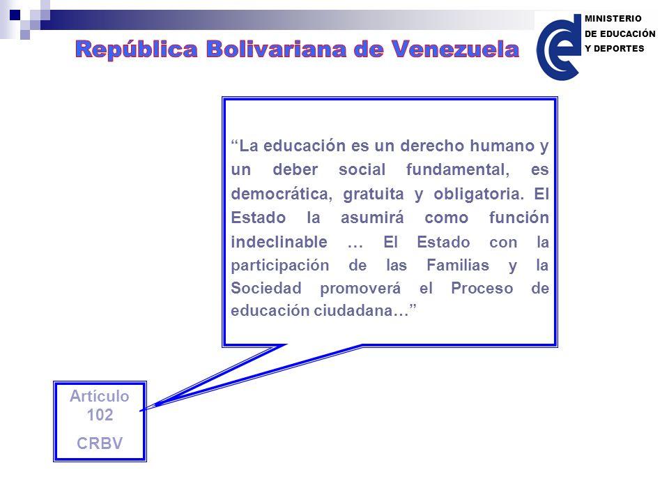 Artículo 102 CRBV La educación es un derecho humano y un deber social fundamental, es democrática, gratuita y obligatoria. El Estado la asumirá como f