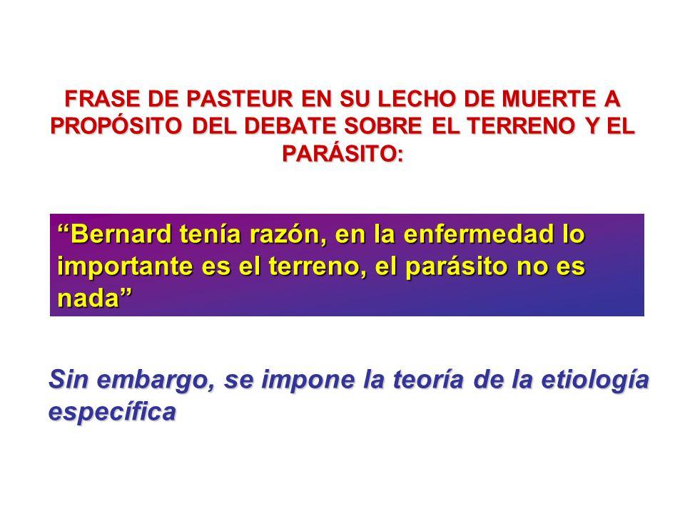 FRASE DE PASTEUR EN SU LECHO DE MUERTE A PROPÓSITO DEL DEBATE SOBRE EL TERRENO Y EL PARÁSITO: Bernard tenía razón, en la enfermedad lo importante es e