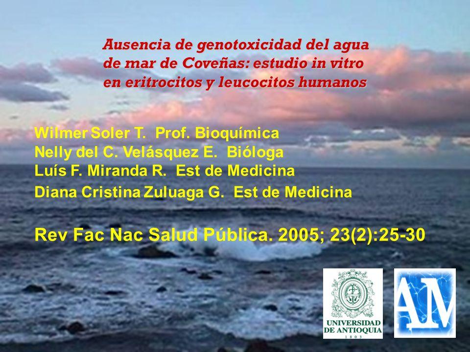 Wilmer Soler T. Prof. Bioquímica Nelly del C. Velásquez E. Bióloga Luís F. Miranda R. Est de Medicina Diana Cristina Zuluaga G. Est de Medicina Rev Fa