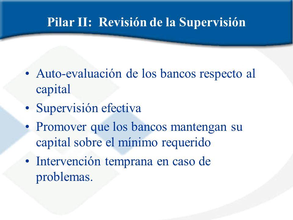 Auto-evaluación de los bancos respecto al capital Supervisión efectiva Promover que los bancos mantengan su capital sobre el mínimo requerido Interven