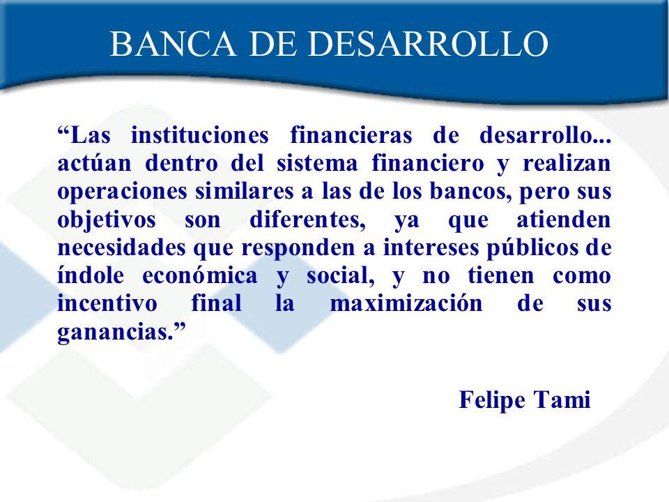 BANCA DE DESARROLLO Las instituciones financieras de desarrollo... actúan dentro del sistema financiero y realizan operaciones similares a las de los