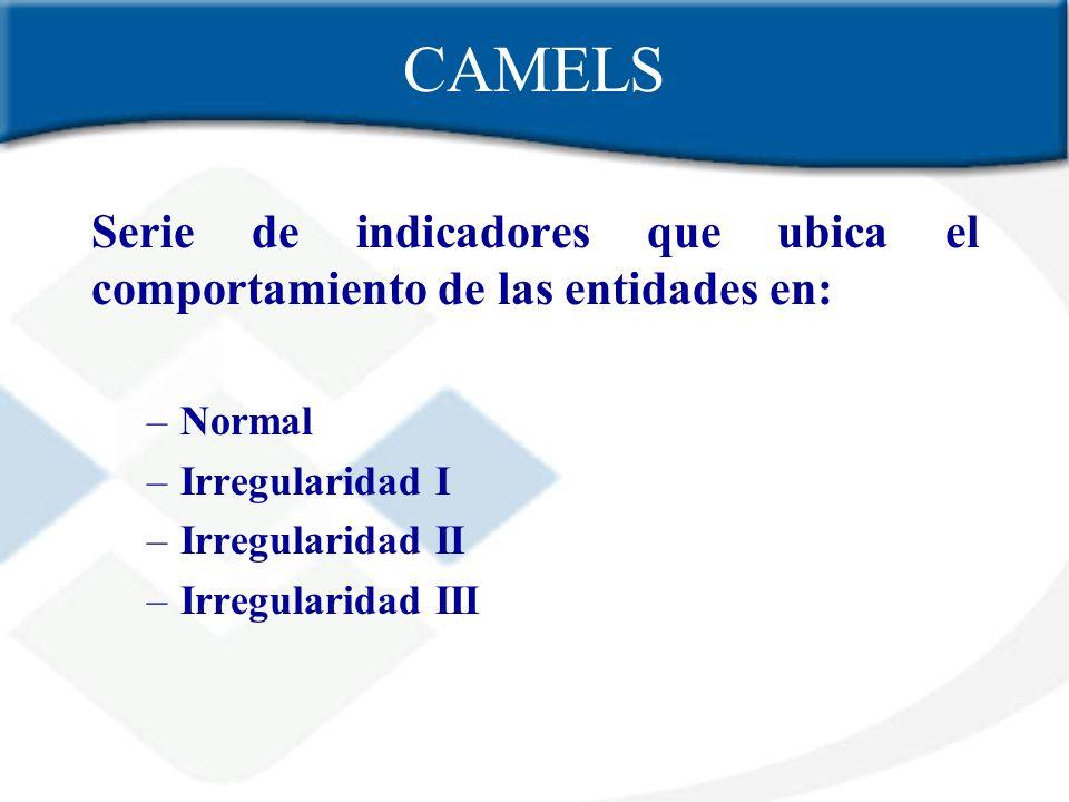 CAMELS Serie de indicadores que ubica el comportamiento de las entidades en: –Normal –Irregularidad I –Irregularidad II –Irregularidad III