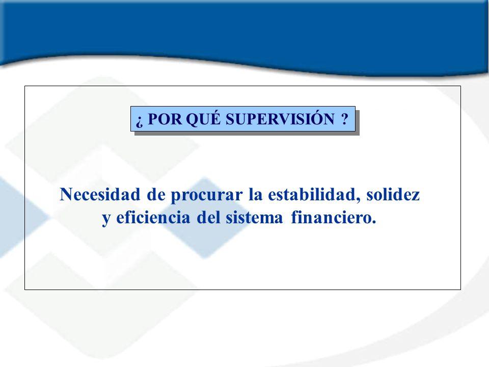 ¿ POR QUÉ SUPERVISIÓN ? Necesidad de procurar la estabilidad, solidez y eficiencia del sistema financiero.