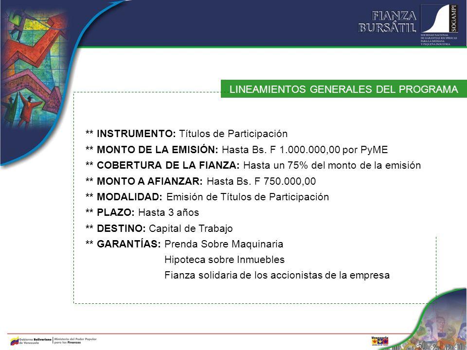 LINEAMIENTOS GENERALES DEL PROGRAMA ** INSTRUMENTO: Títulos de Participación ** MONTO DE LA EMISIÓN: Hasta Bs. F 1.000.000,00 por PyME ** COBERTURA DE