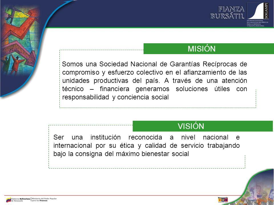 MISIÓN Somos una Sociedad Nacional de Garantías Recíprocas de compromiso y esfuerzo colectivo en el afianzamiento de las unidades productivas del país