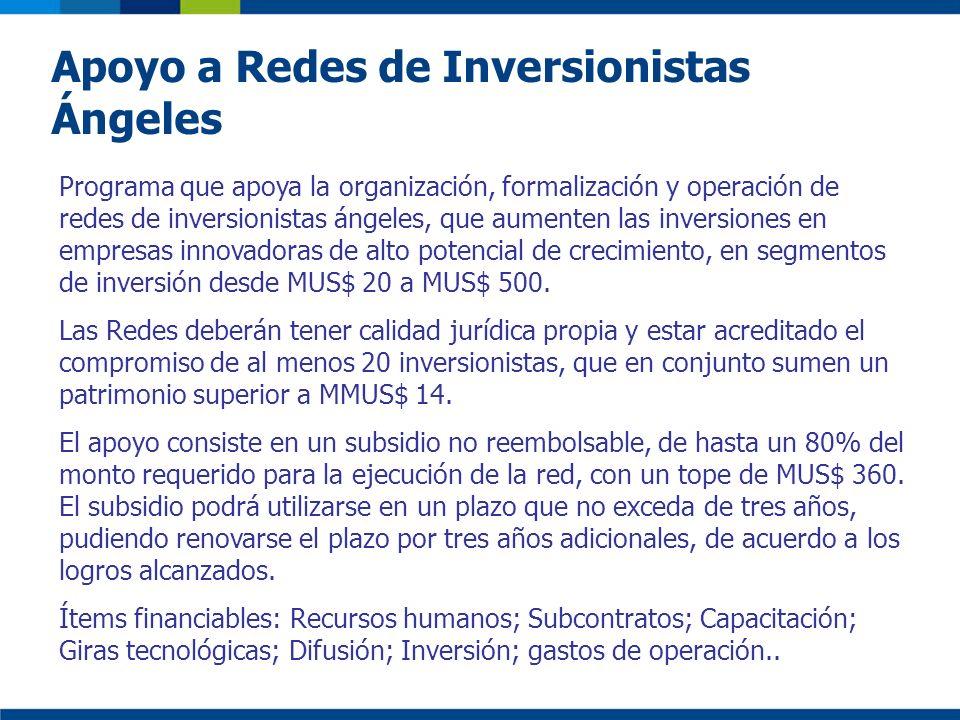 Apoyo a Redes de Inversionistas Ángeles Programa que apoya la organización, formalización y operación de redes de inversionistas ángeles, que aumenten