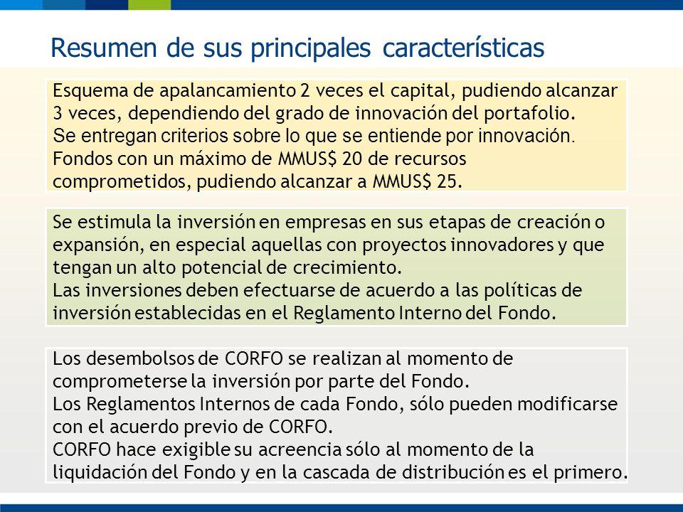 Resumen de sus principales características Los desembolsos de CORFO se realizan al momento de comprometerse la inversión por parte del Fondo. Los Regl