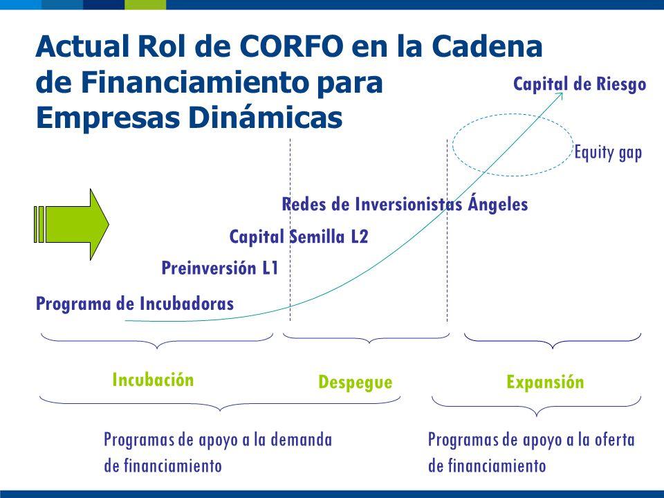 Capital de Riesgo Preinversión L1 Capital Semilla L2 Redes de Inversionistas Ángeles Incubación Expansión Programa de Incubadoras Despegue Actual Rol