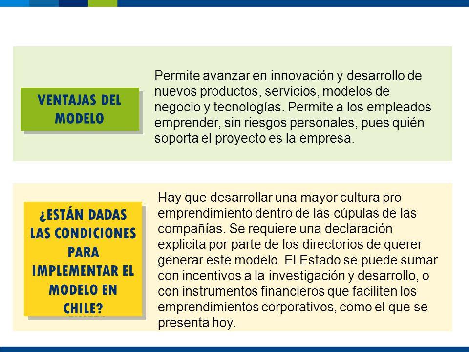 VENTAJAS DEL MODELO ¿ESTÁN DADAS LAS CONDICIONES PARA IMPLEMENTAR EL MODELO EN CHILE? Permite avanzar en innovación y desarrollo de nuevos productos,
