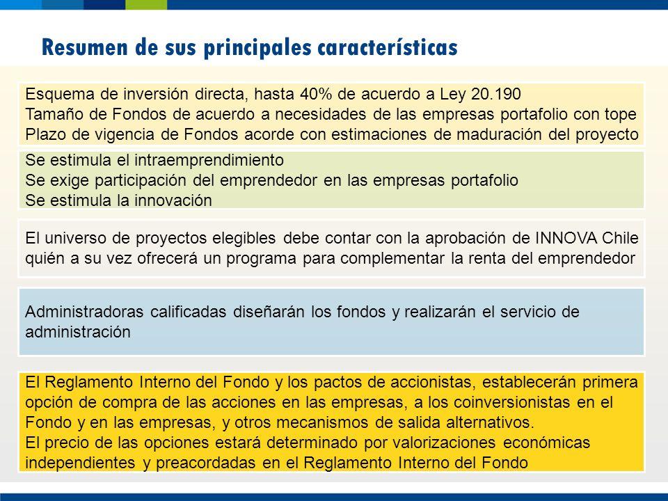 Resumen de sus principales características El universo de proyectos elegibles debe contar con la aprobación de INNOVA Chile quién a su vez ofrecerá un