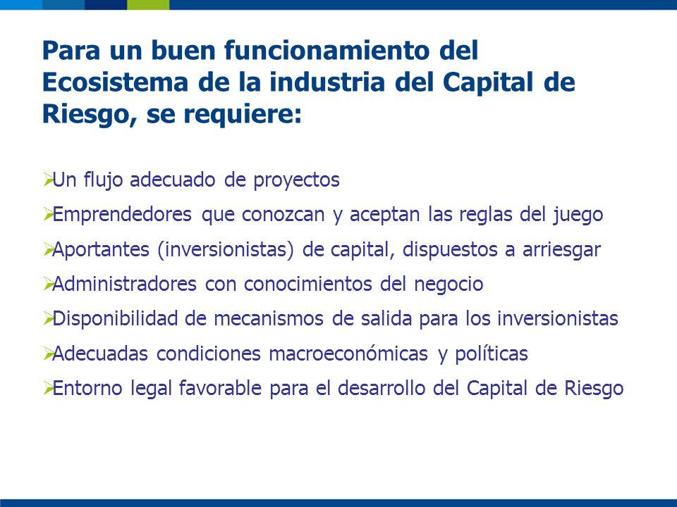 Para un buen funcionamiento del Ecosistema de la industria del Capital de Riesgo, se requiere: Un flujo adecuado de proyectos Emprendedores que conozc