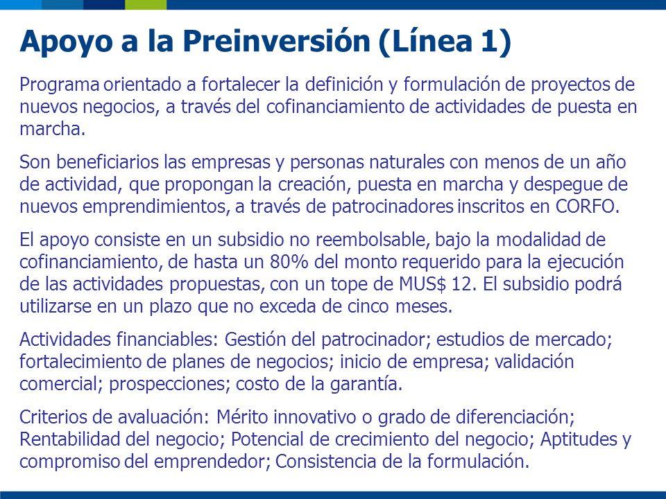 Apoyo a la Preinversión (Línea 1) Programa orientado a fortalecer la definición y formulación de proyectos de nuevos negocios, a través del cofinancia