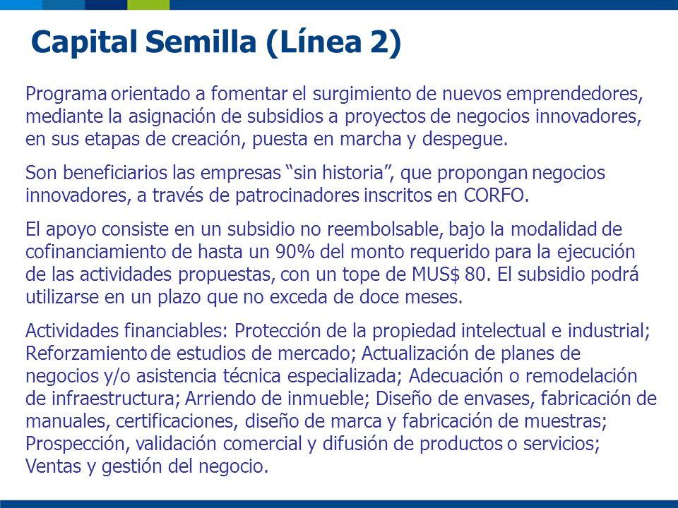Capital Semilla (Línea 2) Programa orientado a fomentar el surgimiento de nuevos emprendedores, mediante la asignación de subsidios a proyectos de neg
