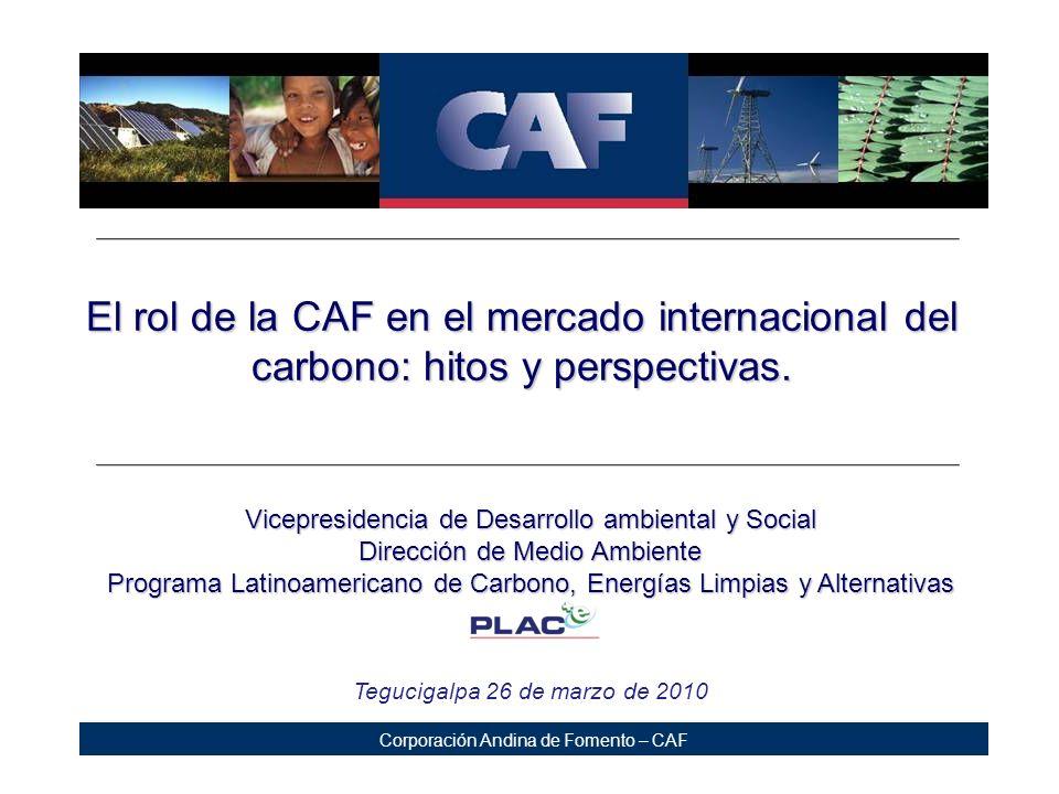 Corporación Andina de Fomento – CAF Projects portfolio – South America Brazil Santa Lucia (PCH) Jalles M achado (Cogeneration) Bolivia Taquesi (PCH) Ecuador Rio Calope (PCH) Ecoelectric (Cogeneration) Hidrovictoria (PCH) EMOP Q (Transport) Colombia Incauca (Cogeneration) Mio (Transport - BRT) Megabus (Transport - BRT) Transmetro (Transport - BRT) Pizano (Reforestation) Providencia (Cogeneration) Manuelita (Energy Eficiency) Transmilenio (Transport - BRT) Peru La Calera (Biodigester) 18 final agreements 16 projects Presence in 5 countries 5.4 million of Tn.
