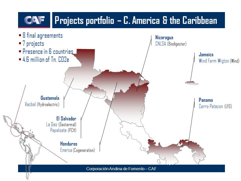 Corporación Andina de Fomento – CAF Projects portfolio – C. America & the Caribbean Jamaica Wind Farm Wigton (Wind) El Salvador La Geo (Geotermal) Pap