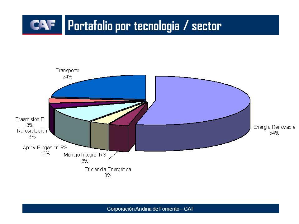 Corporación Andina de Fomento – CAF Portafolio por tecnologia / sector