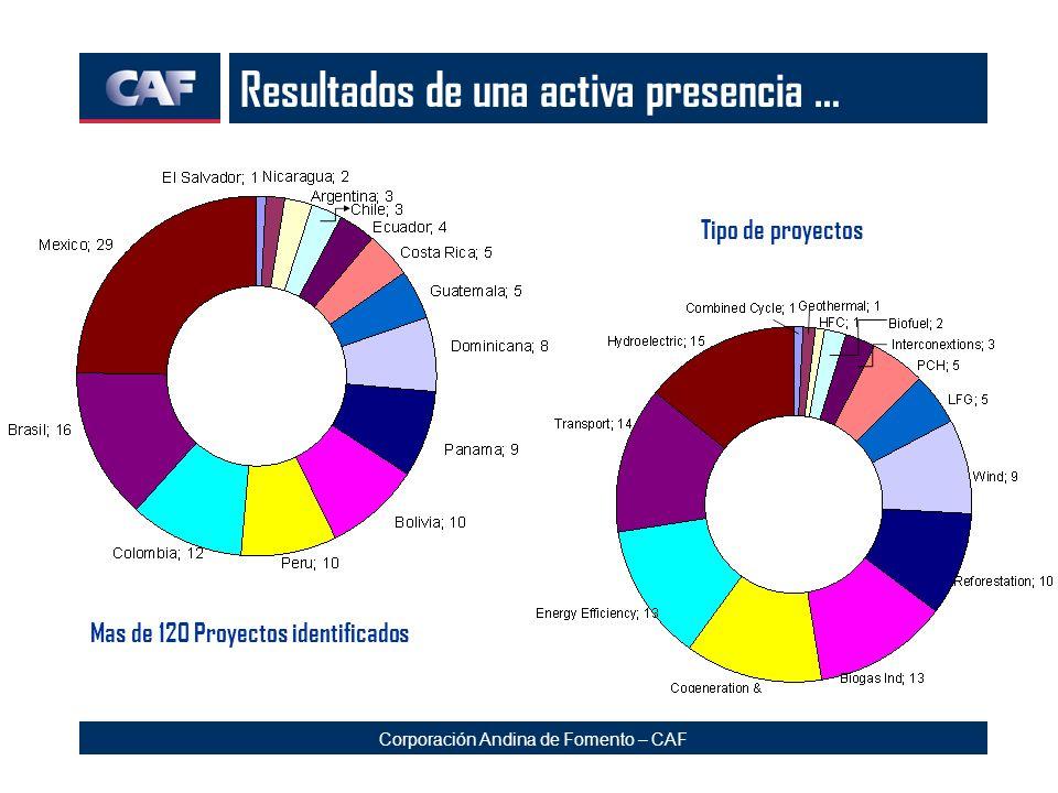 Corporación Andina de Fomento – CAF Resultados de una activa presencia … Mas de 120 Proyectos identificados Tipo de proyectos