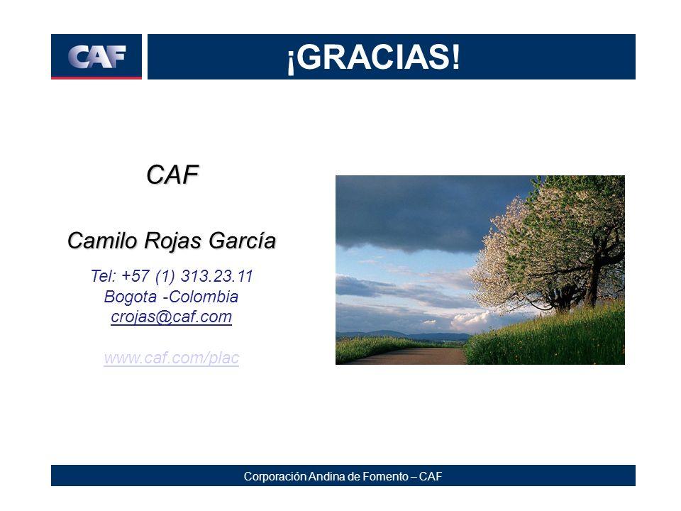 Corporación Andina de Fomento – CAF ¡GRACIAS! CAF Camilo Rojas García Tel: +57 (1) 313.23.11 Bogota -Colombia crojas@caf.com www.caf.com/plac