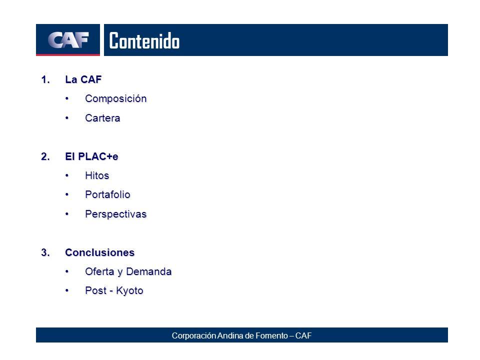 Corporación Andina de Fomento – CAF Contenido 1.La CAF ComposiciónComposición CarteraCartera 2.El PLAC+e HitosHitos PortafolioPortafolio PerspectivasP