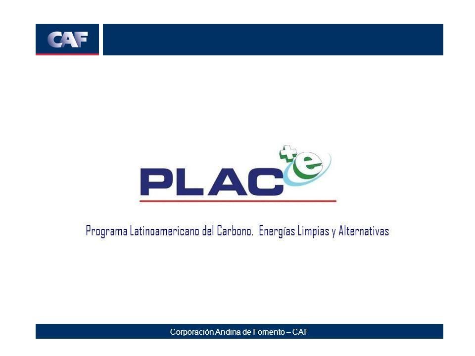 Corporación Andina de Fomento – CAF Programa Latinoamericano de Carbono El PLAC+e busca contribuir a la reducción del Calentamiento Global y promueve el uso de Energías Limpias en Latinoamérica y el Caribe.