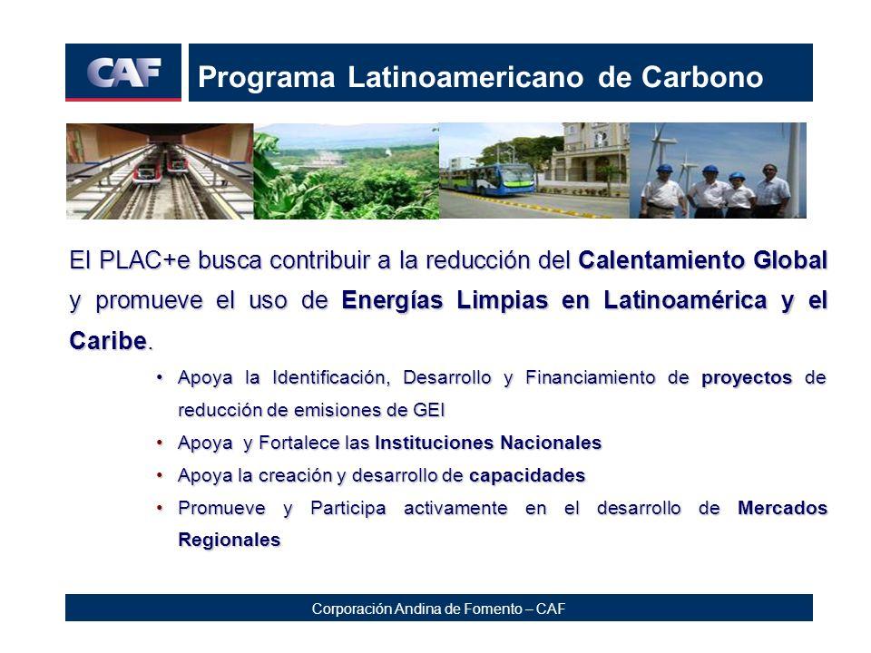 Corporación Andina de Fomento – CAF Programa Latinoamericano de Carbono El PLAC+e busca contribuir a la reducción del Calentamiento Global y promueve