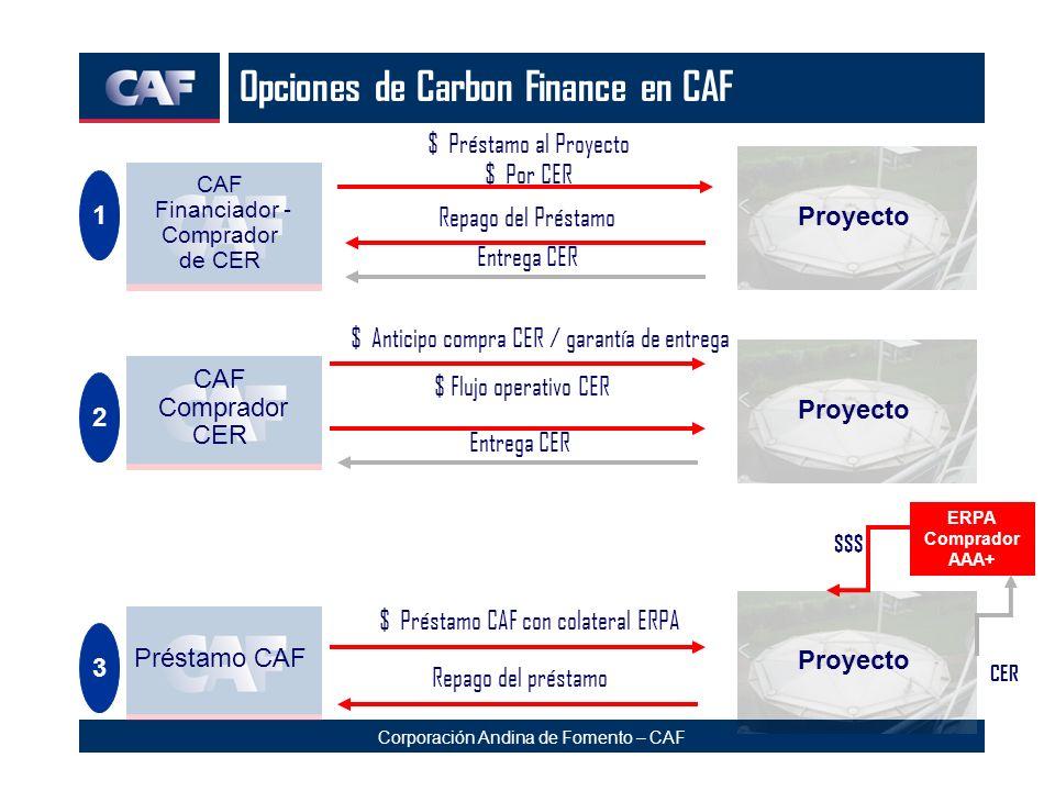 Corporación Andina de Fomento – CAF Opciones de Carbon Finance en CAF $ Préstamo al Proyecto $ Por CER CAF Financiador - Comprador de CER Proyecto Rep