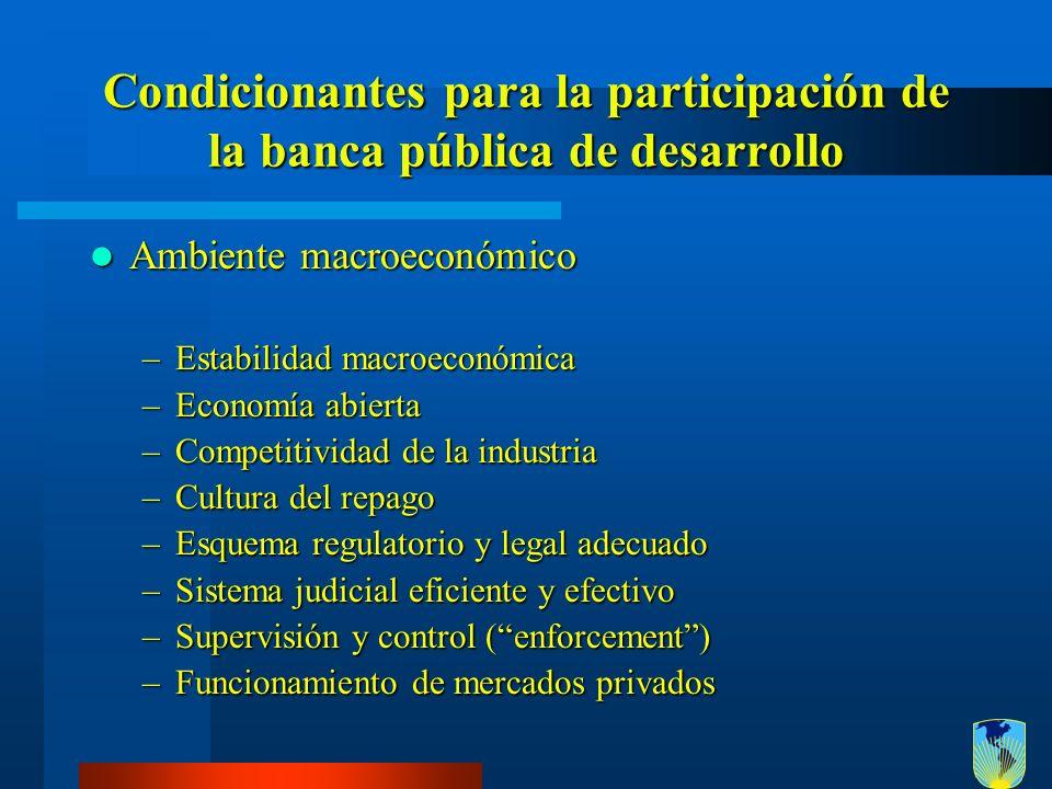 Condicionantes para la participación de la banca pública de desarrollo Ambiente macroeconómico Ambiente macroeconómico –Estabilidad macroeconómica –Ec