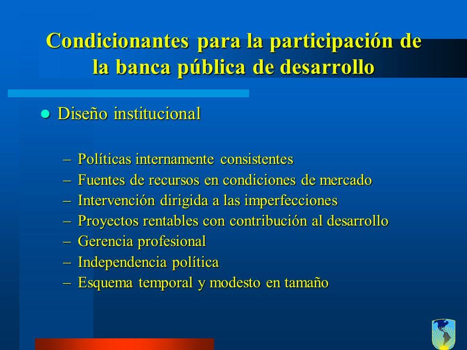 Condicionantes para la participación de la banca pública de desarrollo Diseño institucional Diseño institucional –Políticas internamente consistentes