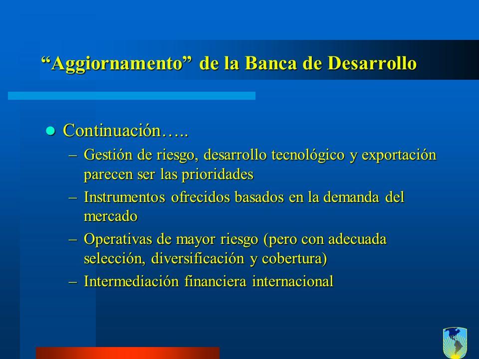 Aggiornamento de la Banca de Desarrollo Continuación….. Continuación….. –Gestión de riesgo, desarrollo tecnológico y exportación parecen ser las prior