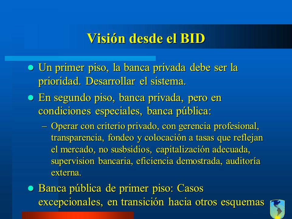Visión desde el BID Un primer piso, la banca privada debe ser la prioridad. Desarrollar el sistema. Un primer piso, la banca privada debe ser la prior