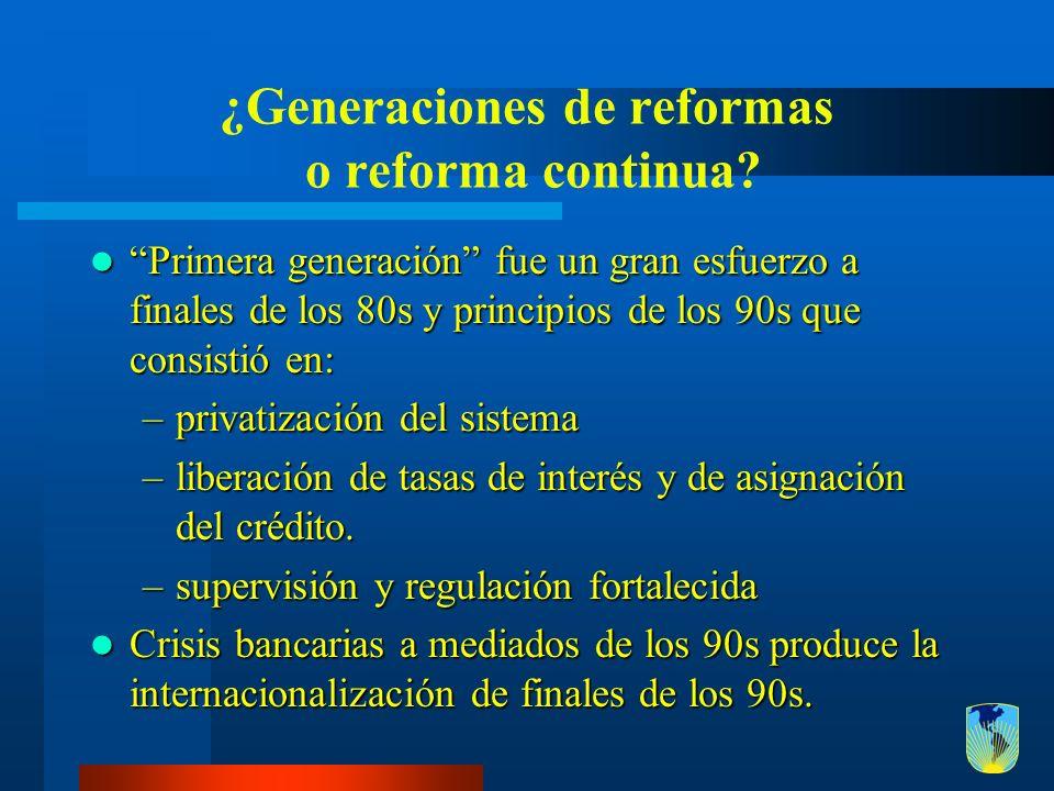 ¿Generaciones de reformas o reforma continua? Primera generación fue un gran esfuerzo a finales de los 80s y principios de los 90s que consistió en: P