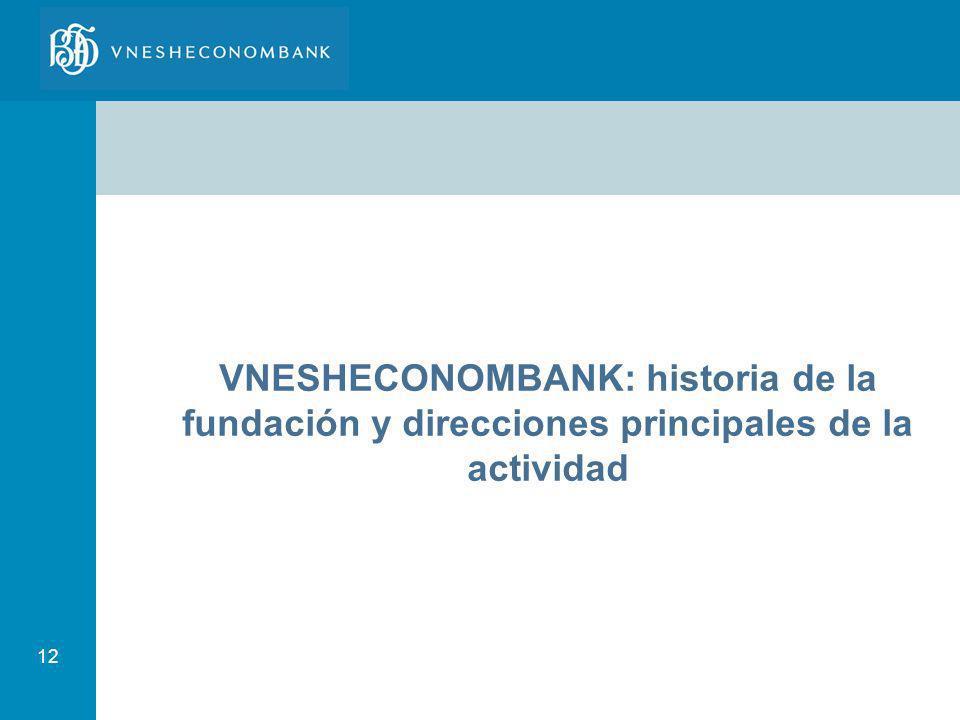 12 VNESHECONOMBANK: historia de la fundación y direcciones principales de la actividad