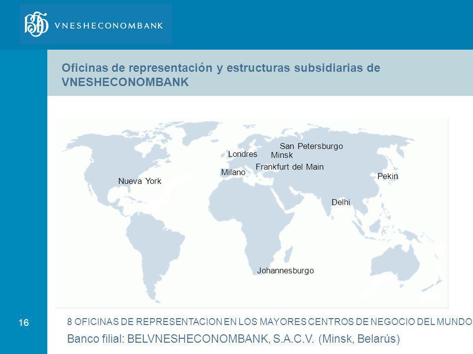 16 Nueva York Londres Milano Johannesburgo Delhi San Petersburgo Pekin 8 OFICINAS DE REPRESENTACION EN LOS MAYORES CENTROS DE NEGOCIO DEL MUNDO Frankf