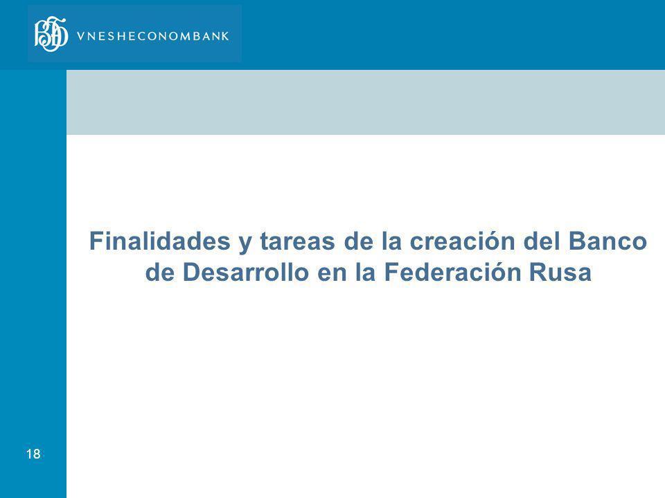 18 Finalidades y tareas de la creación del Banco de Desarrollo en la Federación Rusa