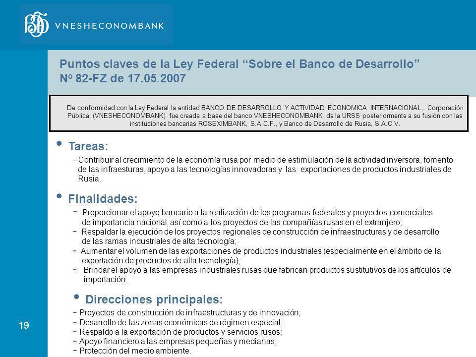 19 Puntos claves de la Ley Federal Sobre el Banco de Desarrollo N o 82-FZ de 17.05.2007 Tareas: - Contribuir al crecimiento de la economía rusa por me