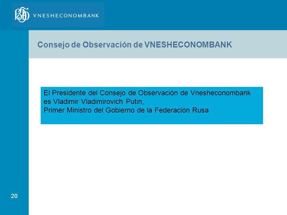 20 Consejo de Observación de VNESHECONOMBANK El Presidente del Consejo de Observación de Vnesheconombank es Vladimir Vladimirovich Putin, Primer Minis