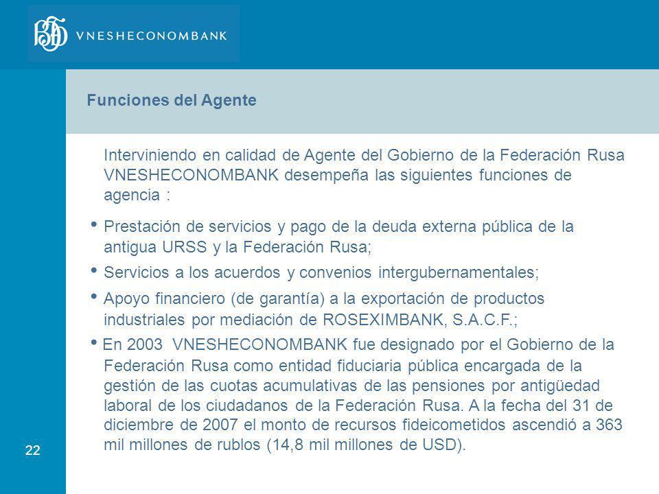 22 Funciones del Agente Interviniendo en calidad de Agente del Gobierno de la Federación Rusa VNESHECONOMBANK desempeña las siguientes funciones de ag