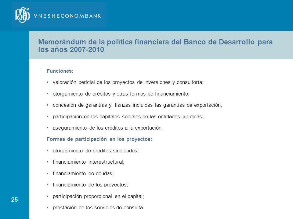 25 Funciones: valoración pericial de los proyectos de inversiones y consultoría; otorgamiento de créditos y otras formas de financiamiento; concesión