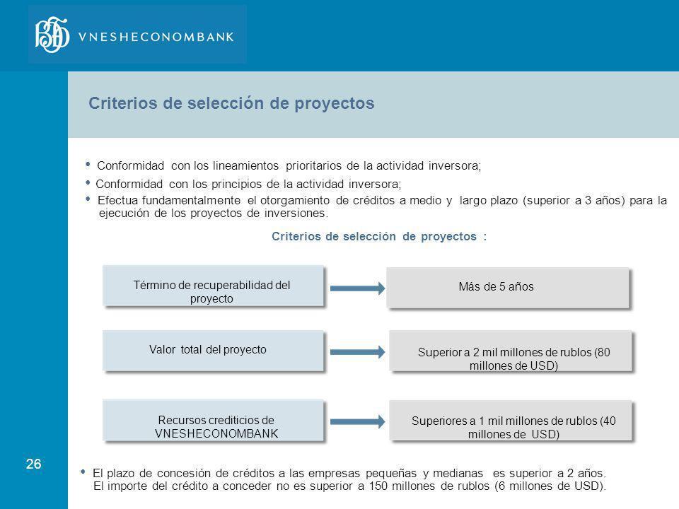 26 Criterios de selección de proyectos Conformidad con los lineamientos prioritarios de la actividad inversora; Conformidad con los principios de la a