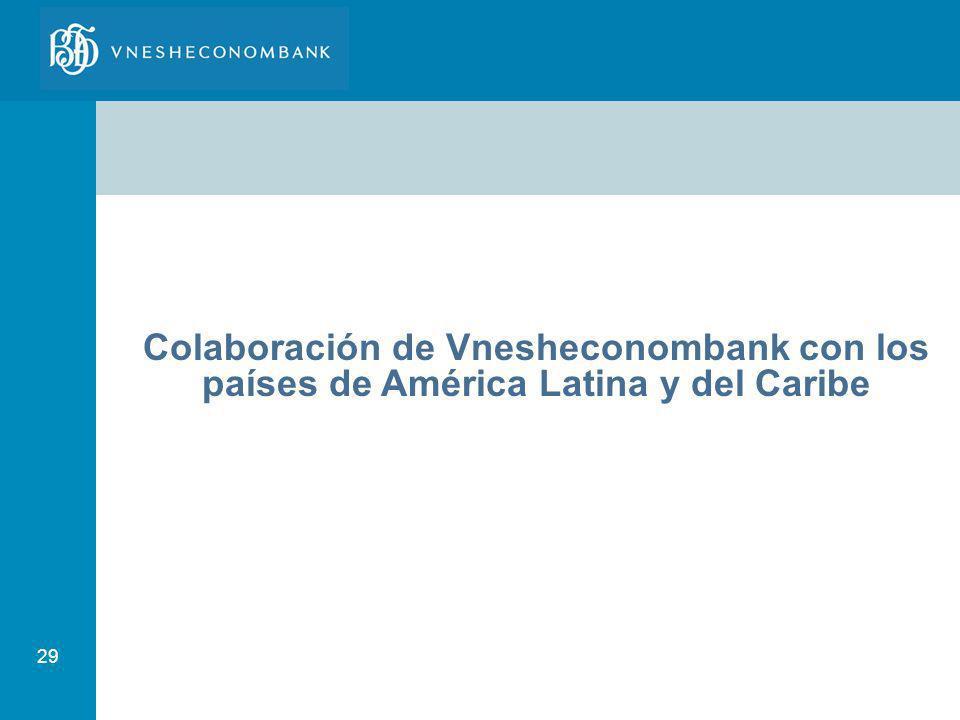 29 Colaboración de Vnesheconombank con los países de América Latina y del Caribe