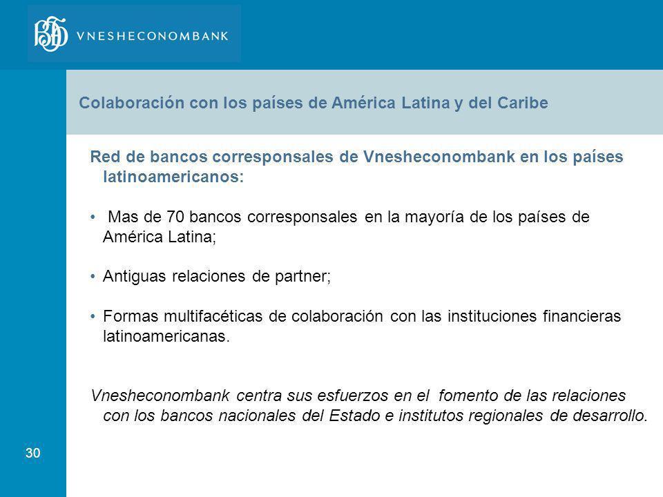 30 Colaboración con los países de América Latina y del Caribe Red de bancos corresponsales de Vnesheconombank en los países latinoamericanos: Mas de 7