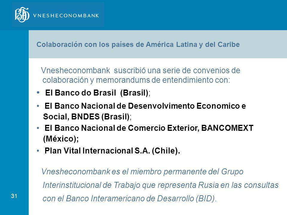 31 Vnesheconombank suscribió una serie de convenios de colaboración y memorandums de entendimiento con: El Banco do Brasil (Brasil); El Banco Nacional