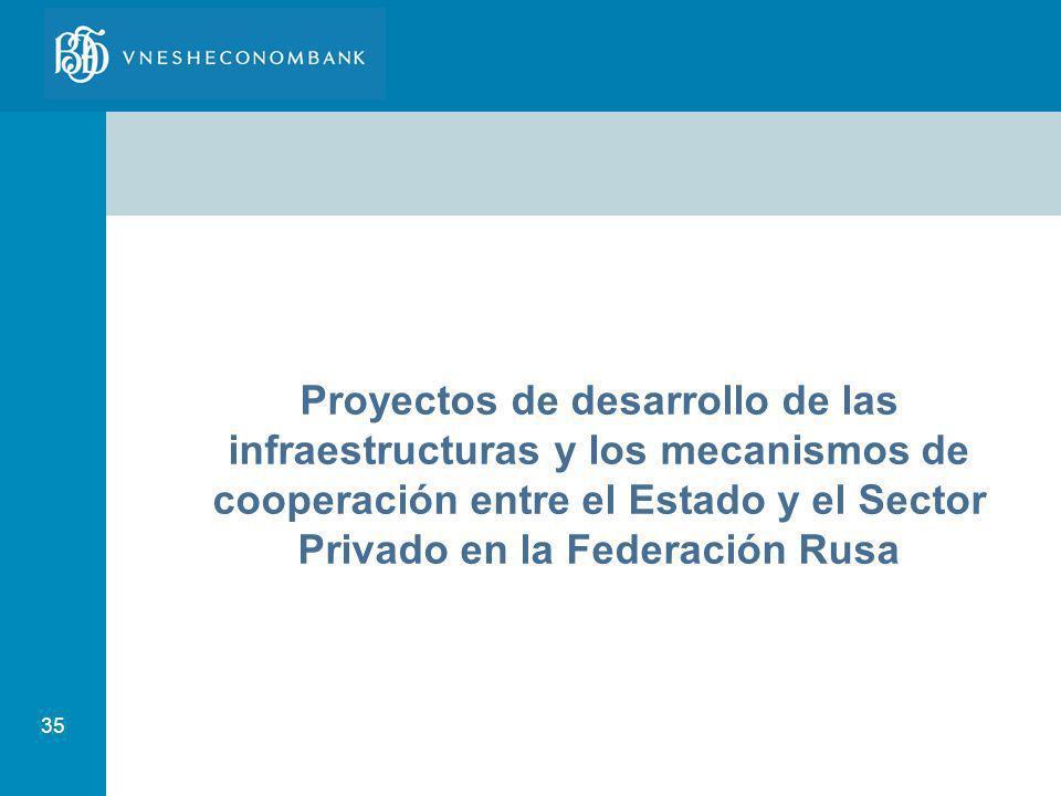 35 Proyectos de desarrollo de las infraestructuras y los mecanismos de cooperación entre el Estado y el Sector Privado en la Federación Rusa